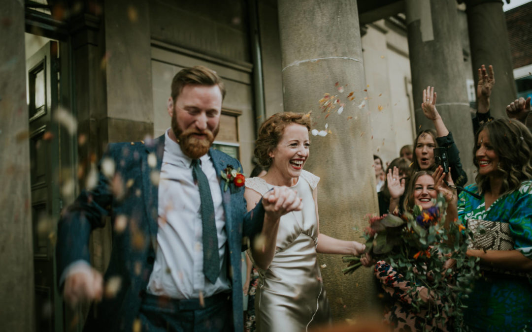 Bride In Gold Dress For A Relaxed Wedding in Sheffield